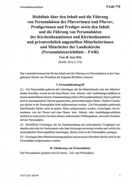 779 Personalaktenrichtlinie