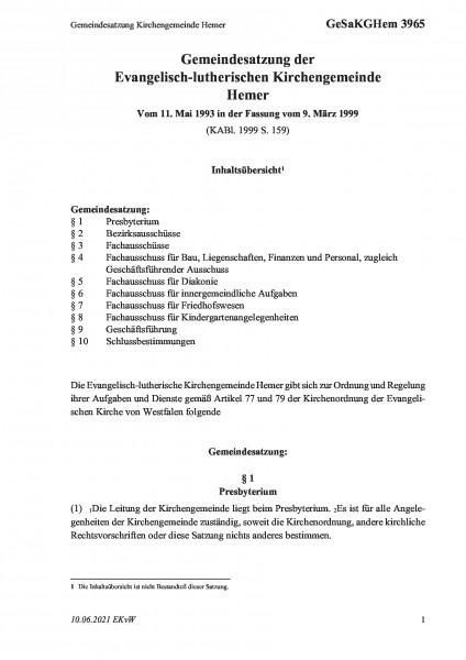 3965 Gemeindesatzung Kirchengemeinde Hemer
