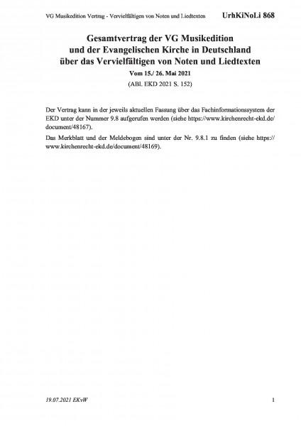 868 VG Musikedition Vertrag - Vervielfältigen von Noten und Liedtexten
