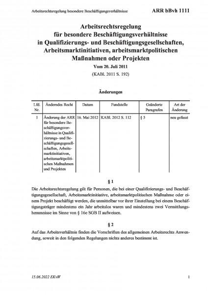 1111 Arbeitsrechtsregelung besondere Beschäftigungsverhältnisse
