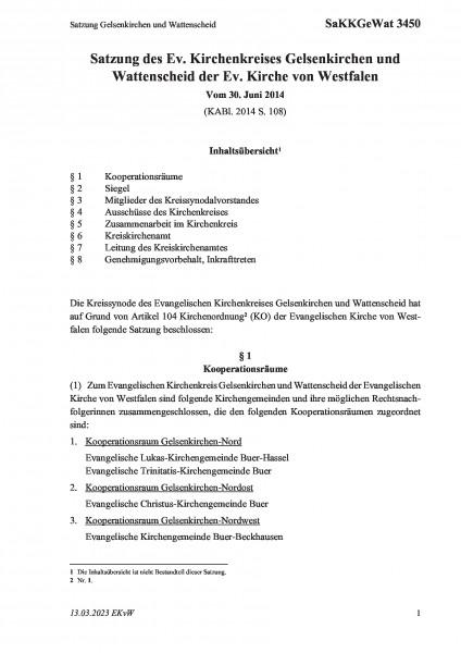 3450 Satzung Gelsenkirchen und Wattenscheid