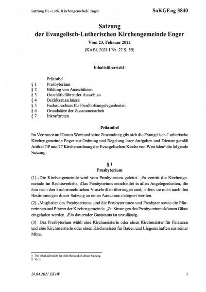 3840 Satzung Ev.-Luth. Kirchengemeinde Enger