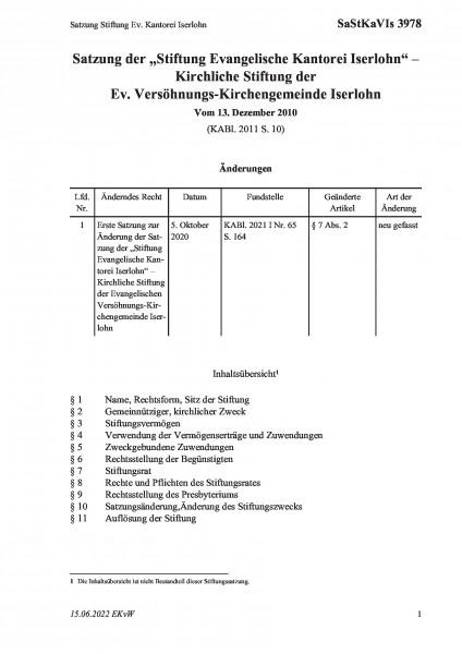 3978 Satzung Stiftung Ev. Kantorei Iserlohn