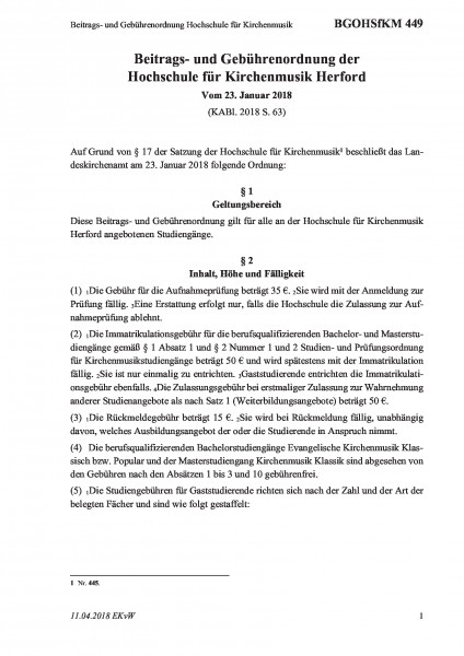 449 Beitrags- und Gebührenordnung Hochschule für Kirchenmusik