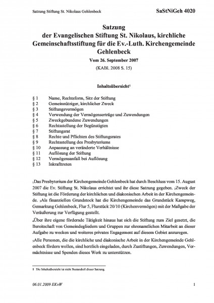 4020 Satzung Stiftung St. Nikolaus Gehlenbeck