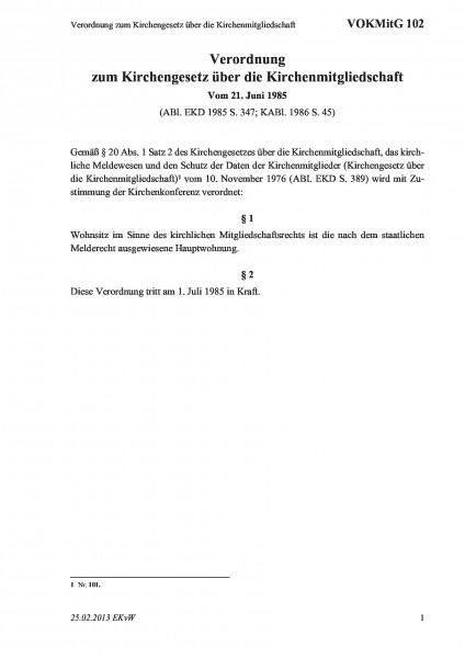 102 Verordnung zum Kirchengesetz über die Kirchenmitgliedschaft