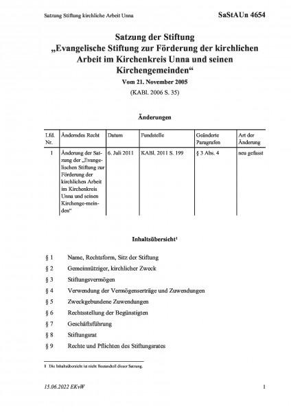 4654 Satzung Stiftung kirchliche Arbeit Unna