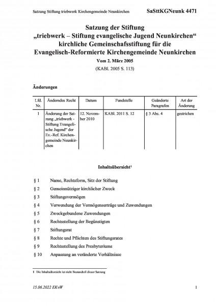 4471 Satzung Stiftung triebwerk Kirchengemeinde Neunkirchen