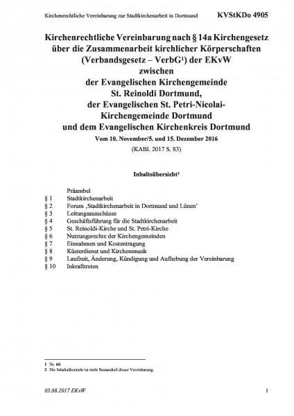 4905 Kirchenrechtliche Vereinbarung zur Stadtkirchenarbeit in Dortmund