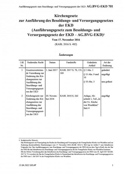 701 Ausführungsgesetz zum Besoldungs- und Versorgungsgesetz der EKD