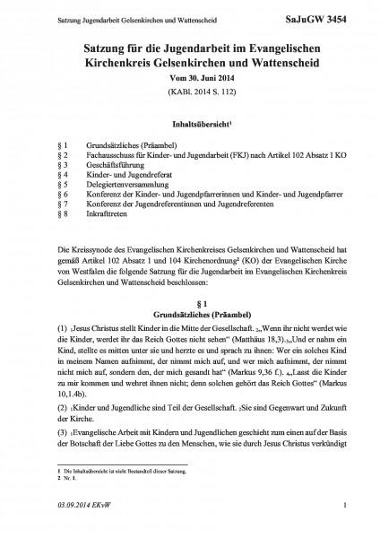 3454 Satzung Jugendarbeit Gelsenkirchen und Wattenscheid