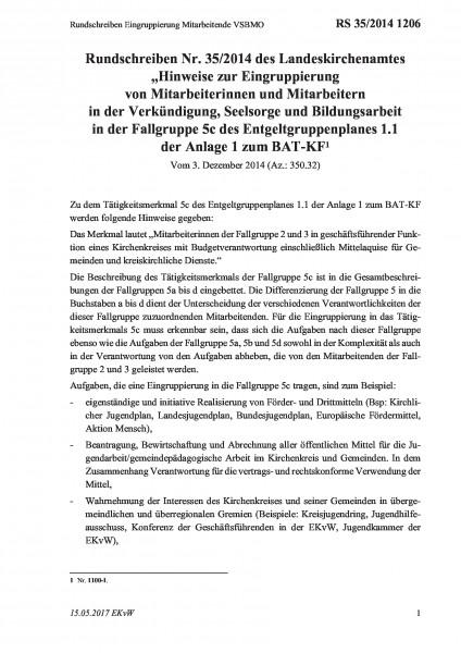 1206 Rundschreiben Eingruppierung Mitarbeitende VSBMO