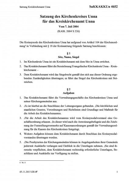 4652 Satzung Kreiskirchenamt Unna