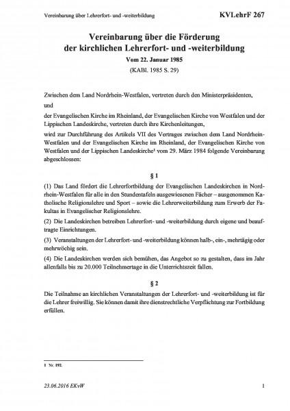 267 Vereinbarung über Lehrerfort- und -weiterbildung