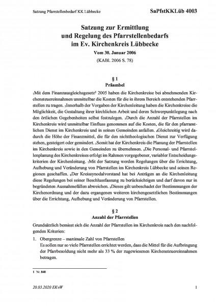 4003 Satzung Pfarrstellenbedarf KK Lübbecke
