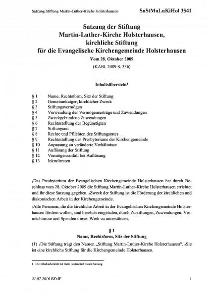 3541 Satzung Stiftung Martin-Luther-Kirche Holsterhausen