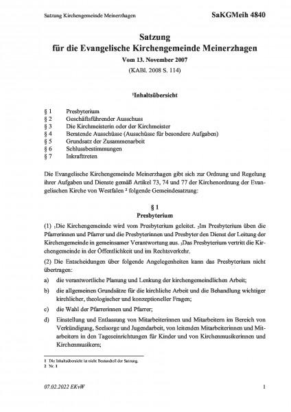 4840 Satzung Kirchengemeinde Meinerzhagen