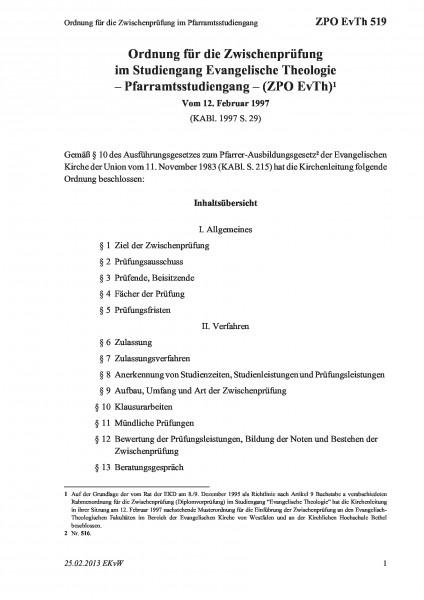 519 Ordnung für die Zwischenprüfung im Pfarramtsstudiengang