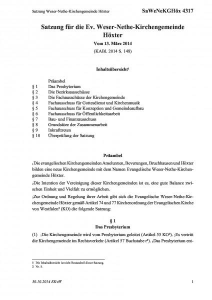 4317 Satzung Weser-Nethe-Kirchengemeinde Höxter