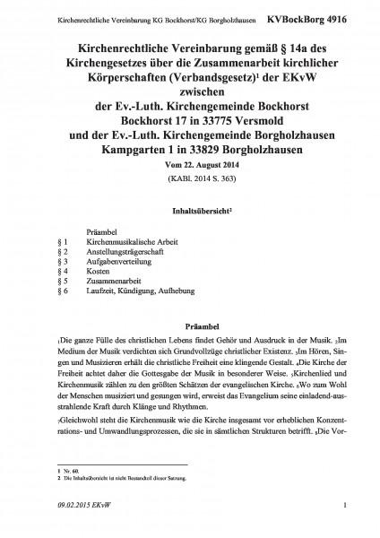 4916 Kirchenrechtliche Vereinbarung KG Bockhorst/KG Borgholzhausen