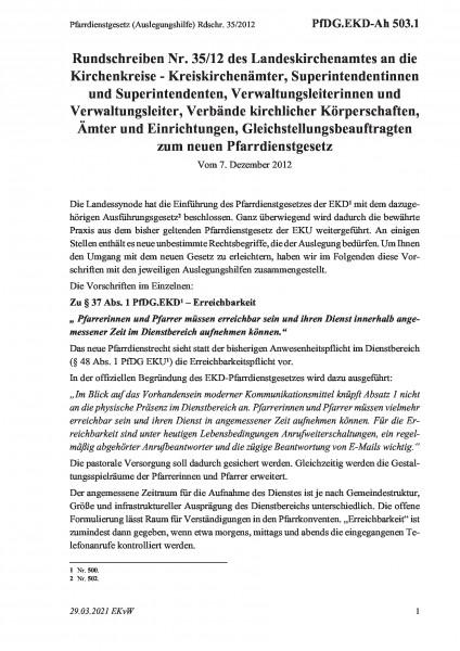 503.1 Pfarrdienstgesetz (Auslegungshilfe) Rdschr. 35/2012