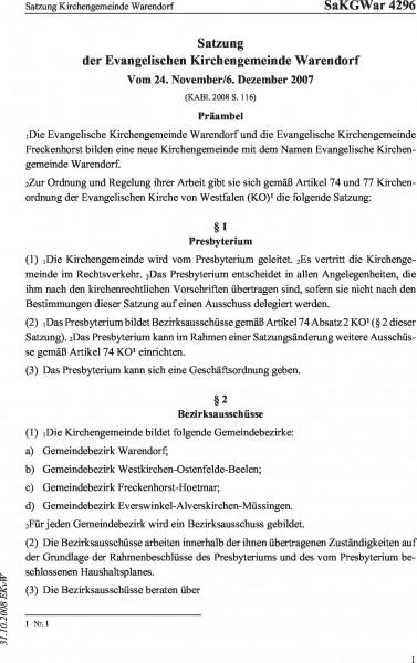 4296 Satzung Kirchengemeinde Warendorf