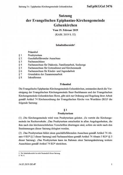 3476 Satzung Ev. Epiphanias-Kirchengemeinde Gelsenkirchen