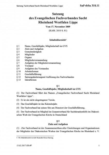 310.11 Satzung Fachverband Sucht Rheinland Westfalen Lippe