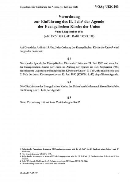 203 Verordnung zur Einführung der Agende (II. Teil) der EKU