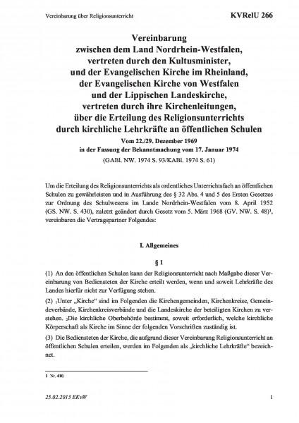 266 Vereinbarung über Religionsunterricht