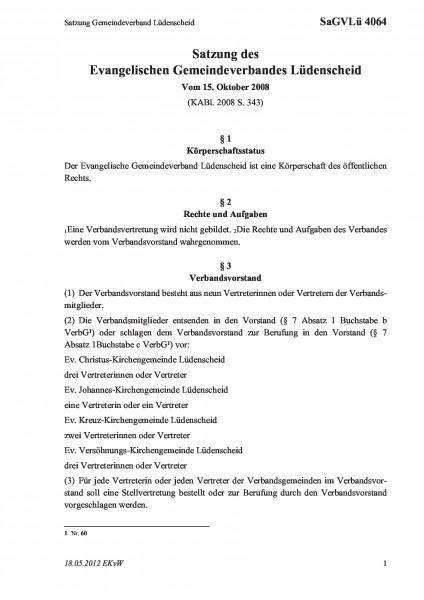 4064 Satzung Gemeindeverband Lüdenscheid