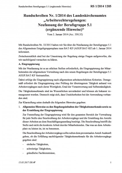 1205 Rundschreiben Berufsgruppe 5.1 (ergänzende Hinweise)