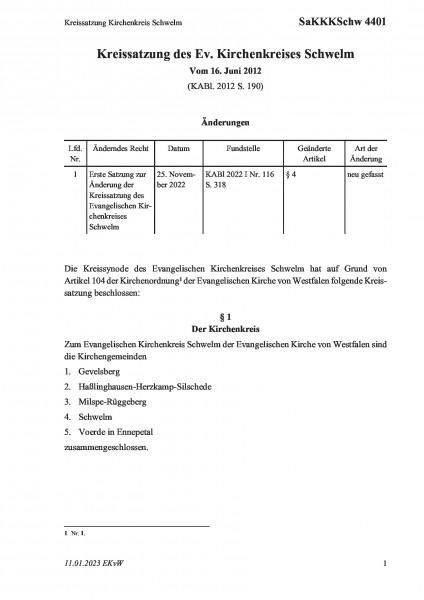 4401 Kreissatzung Kirchenkreis Schwelm