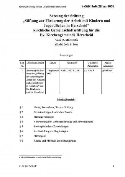 4070 Satzung Stiftung Kinder- Jugendarbeit Herscheid
