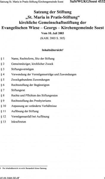 4532 Satzung St. Maria in Pratis-Stiftung Kirchengemeinde Soest