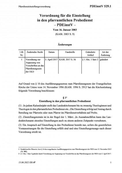 529.1 Pfarrdiensteinstellungsverordnung