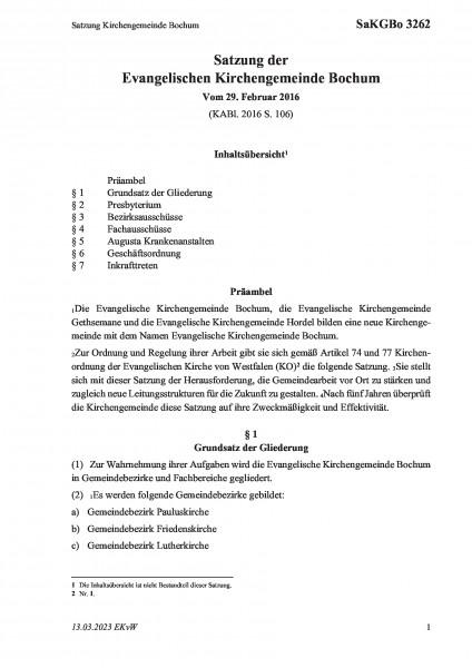 3262 Satzung Kirchengemeinde Bochum