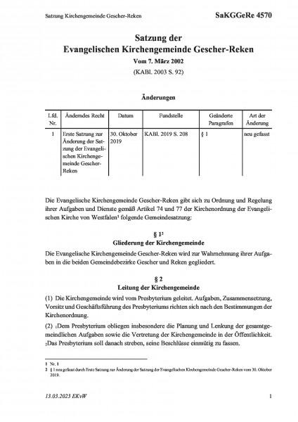 4570 Satzung Kirchengemeinde Gescher-Reken