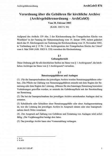 876 Archivgebührenordnung
