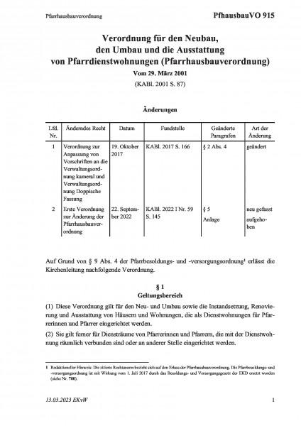 915 Pfarrhausbauverordnung