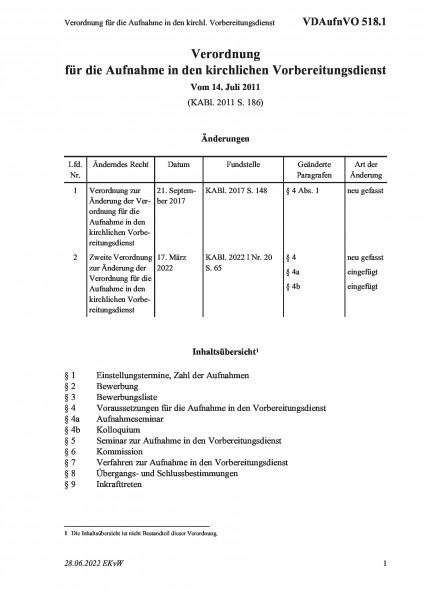 518.1 Verordnung für die Aufnahme in den kirchl. Vorbereitungsdienst