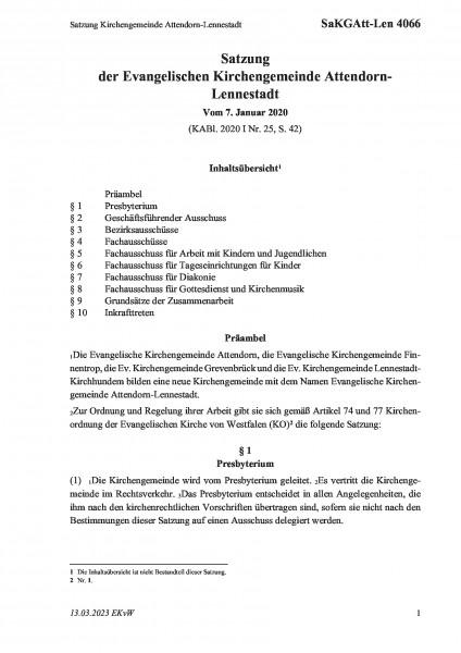 4066 Satzung Kirchengemeinde Attendorn-Lennestadt