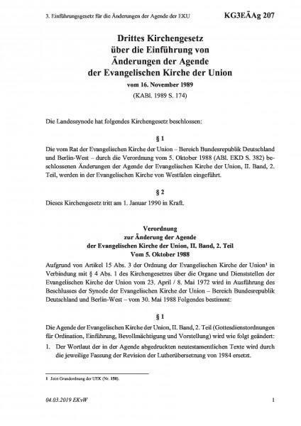 207 3. Einführungsgesetz für die Änderungen der Agende der EKU