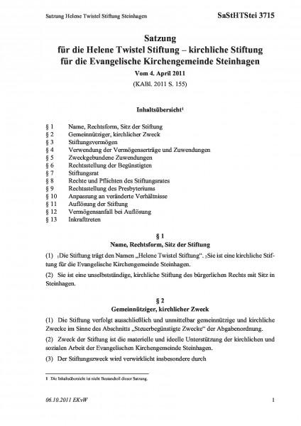 3715 Satzung Helene Twistel Stiftung Steinhagen