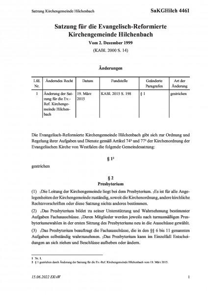 4461 Satzung Kirchengemeinde Hilchenbach