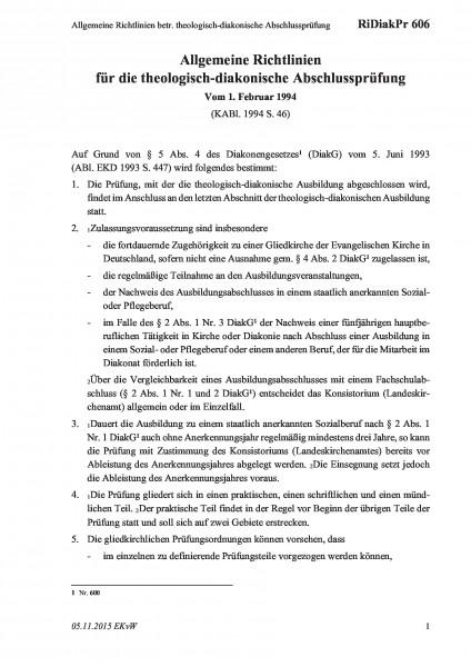 606 Allgemeine Richtlinien betr. theologisch-diakonische Abschlussprüfung