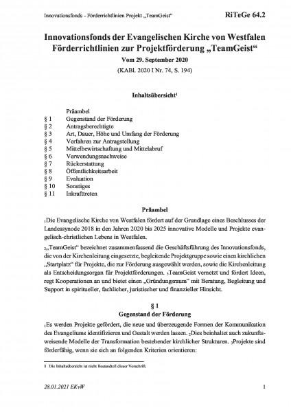 """64.2 Innovationsfonds - Förderrichtlinien Projekt """"TeamGeist"""""""
