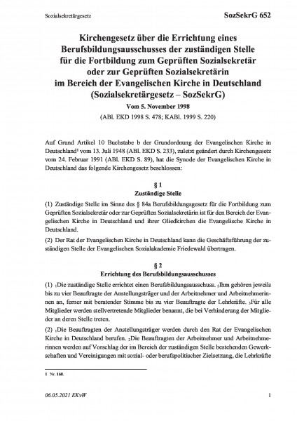 652 Sozialsekretärgesetz