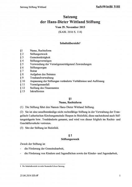 3181 Satzung Stiftung Wittland