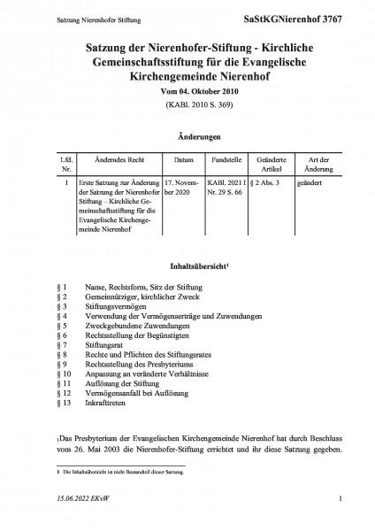 3767 Satzung Nierenhofer Stiftung